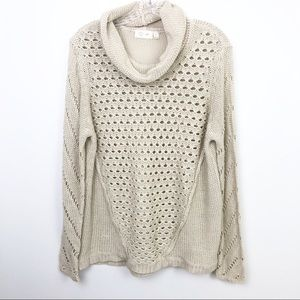 RD Style Open Knit Cowl Neck Sweater Cream Large